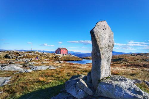 Nydelig høstdag ved Vikinghytten på byfjellet i Bergen