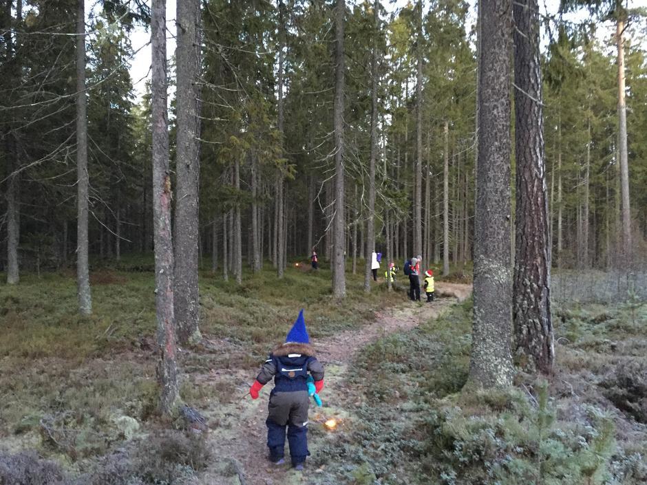 På nissetur i skogen.