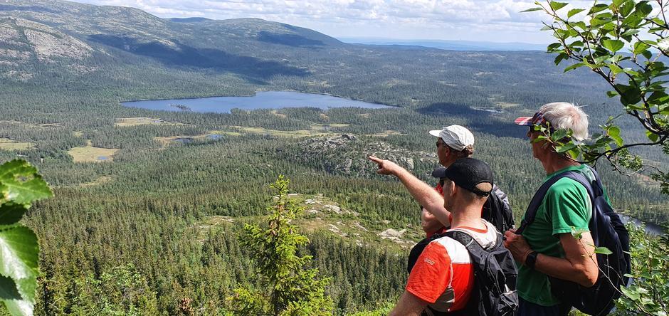 Tommy Støa forteller om utsikten mot Sandvasskollen og Gyranfisen helt til venstre, deretter Sandvatnet foran og Vikerfjell bak.