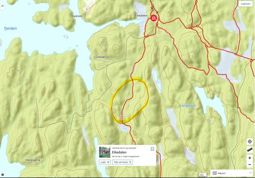 Kortvarig hogst i Eikedalen rundt turløyper nå i november.