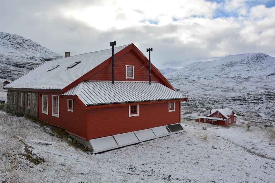 Første snøfall på Hallingskeid, bilde tatt 07.10.2017