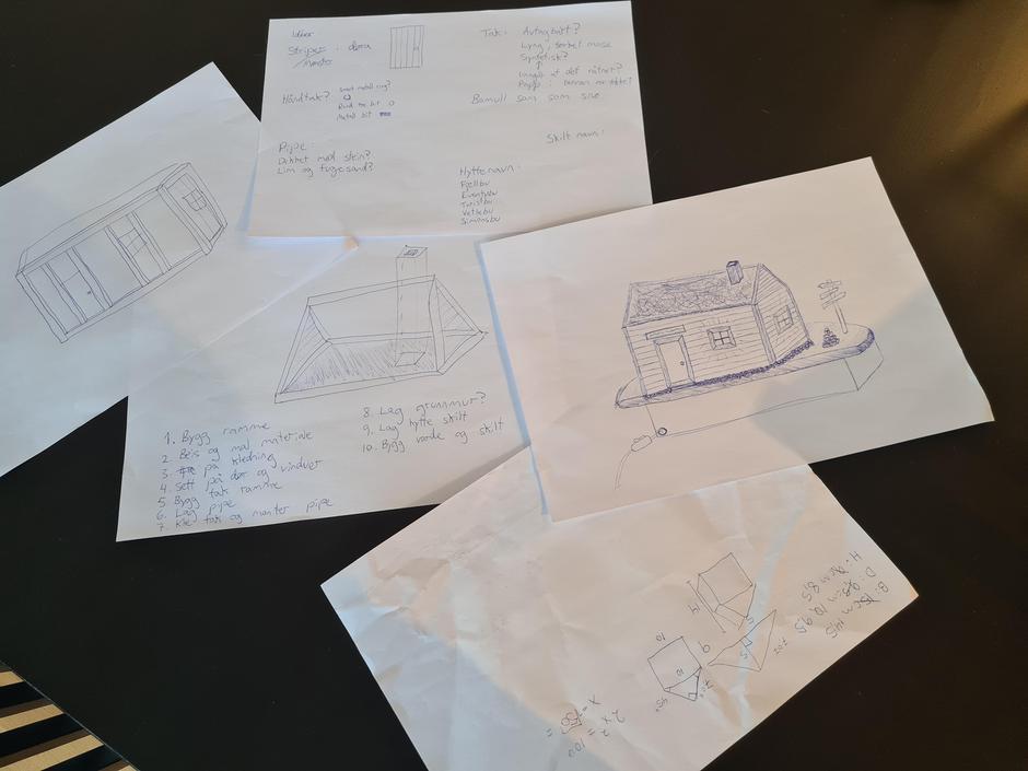 PÅ TEGNEBLOKKA: Hyttebyggeren gikk systematisk til verks med idélister og skisser.