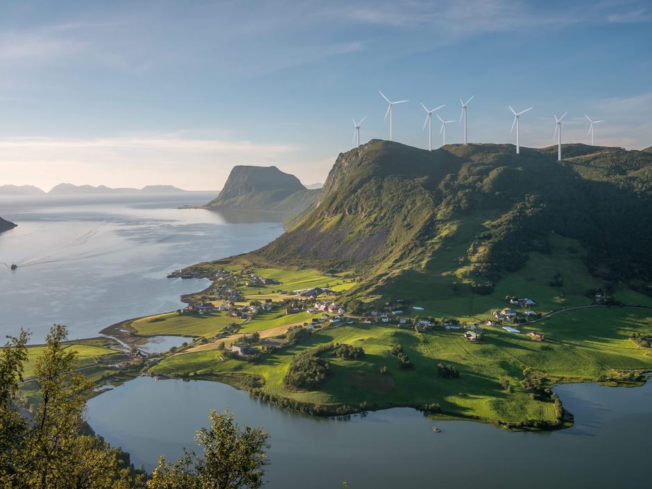 Slik kan et vindkraftanlegg på Aunfjellet se ut. Illustrasjon: Geir Samuelsen