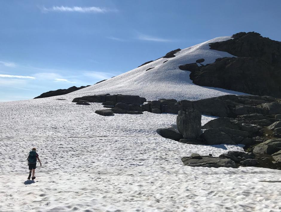 Tirsdag 29.6: Snøfonna på nordøstlige ryggen av Skrott. Morsomt og spennende.