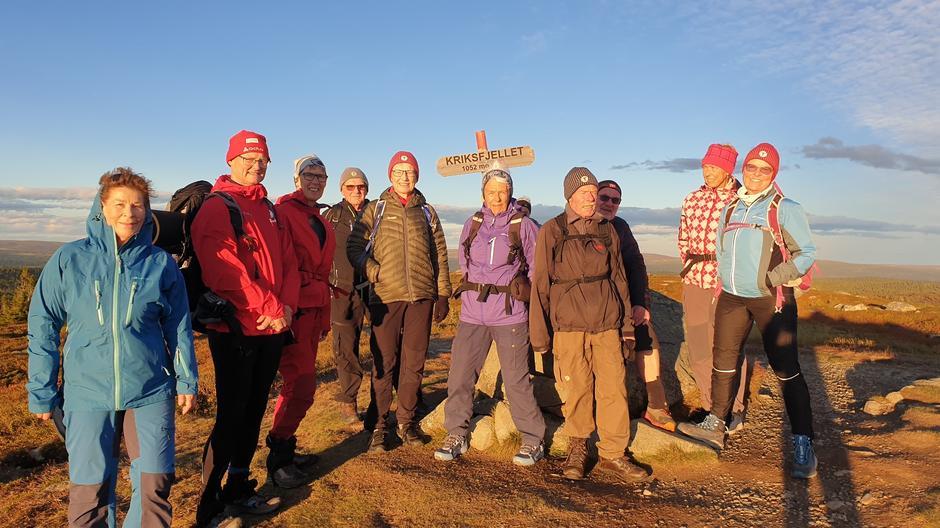 Turdeltagere på toppen av Kriksfjell