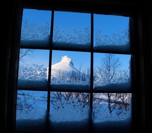 Utsikt fra vinduet på Lurfjellhytta