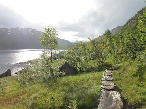 Stien mellom Stølsdammen/Modalen er steinlagt. Flott arbeid av sherpaer!