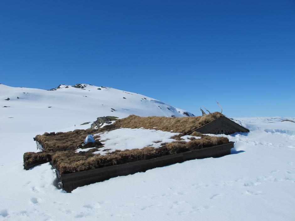 Hyttetaket på Breidablik kjemper seg frem mot solen gjennom metervis med snø.