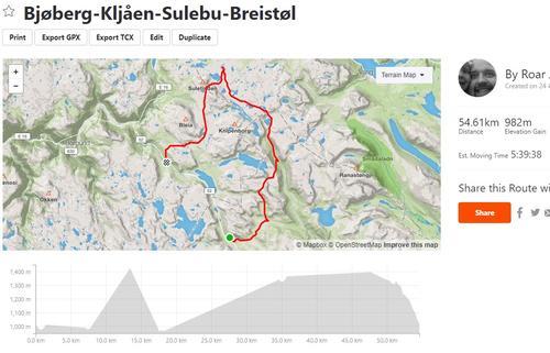 Rute 3 dagers tur Hemsedal og Filefjell