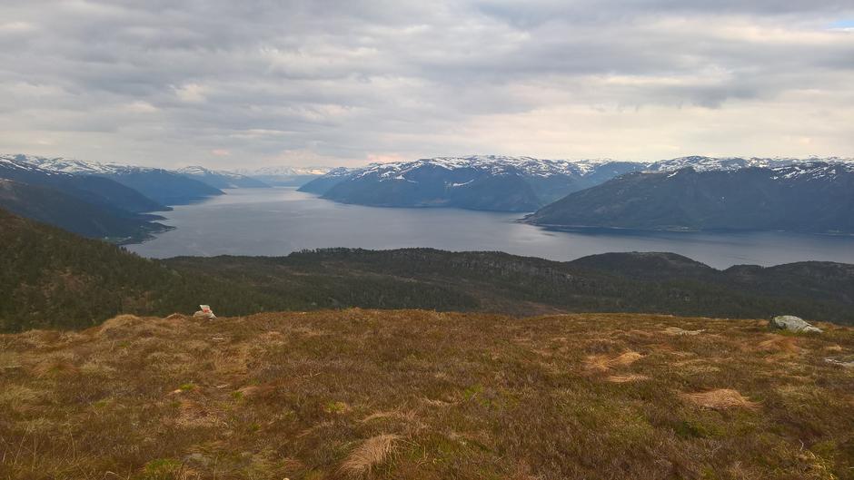 Utsikt innover Sognefjorden på veg nedover mot Torvund