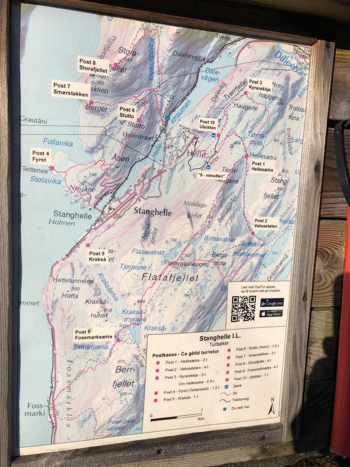 Kart over turer i Stanghelle