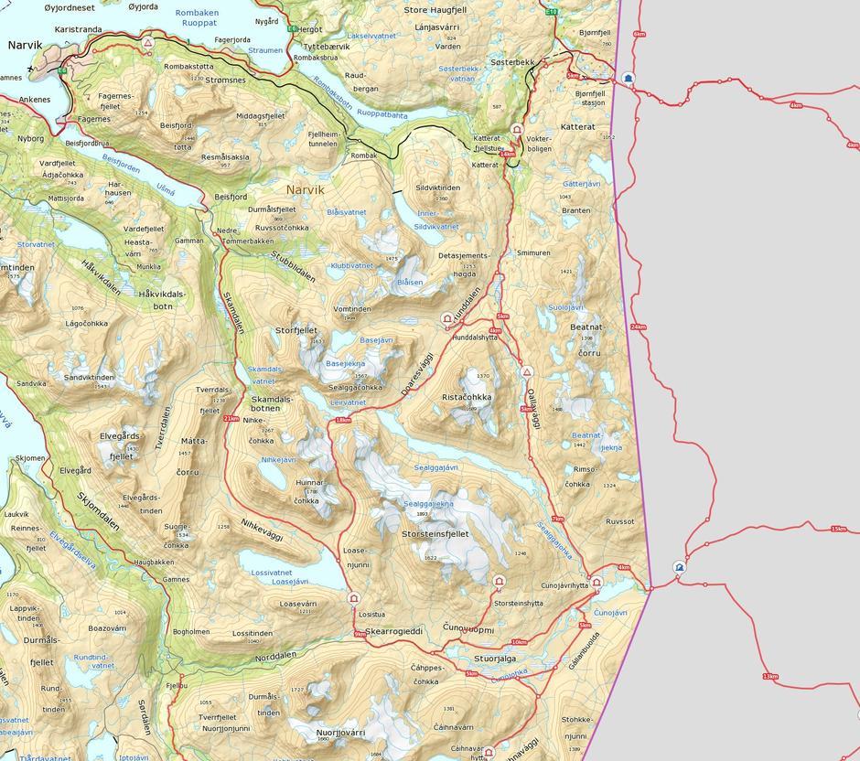 Oversiktskart NOT-ruter nord med hytter