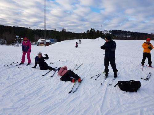 Skikurs på Konnerud skistadion