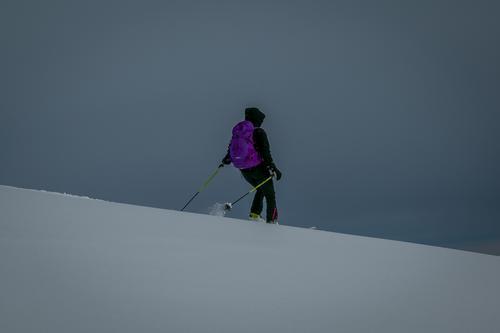 På tur ned med ski