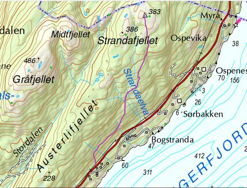 Kart Strandafjellet