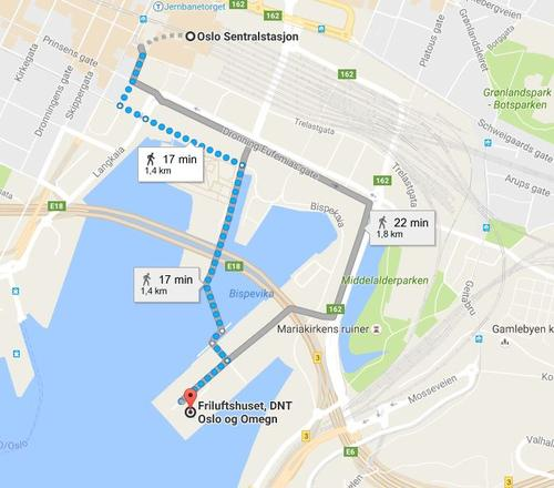 Veien fra Oslo S til Friluftshuset