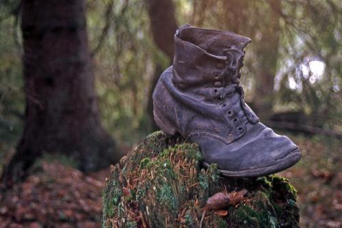 """""""Oldefarstøvelen"""" er foreviget langsmed en gammel setersti oppi """" Eventyrskogen"""" på åsene i nærheten av Hvittingfoss. Jeg elsker¨å traske i dette uveisomme terrenget mens tankene går til de generasjoner som her har satt sine fotefar...."""
