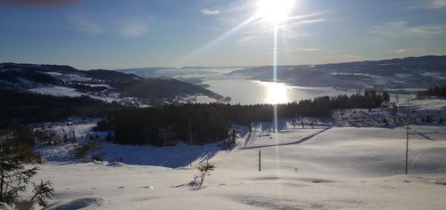 Utsikt utover Mjøsa fra området ved Biskopåsen