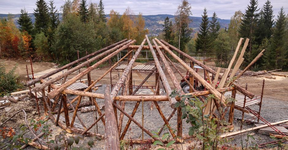 Skjelettet er kortreist tømmer fra tomta.