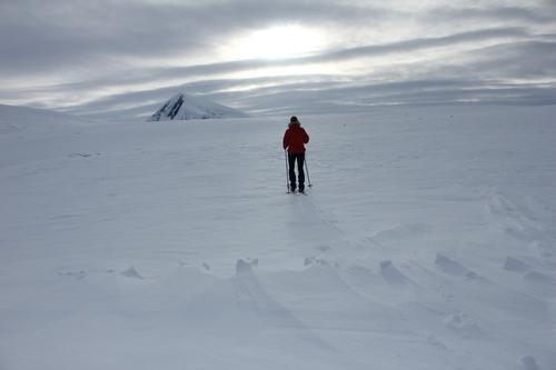 Nesten en del av ruta vi skal gå, Tromsdaltinden i bakgrunnen