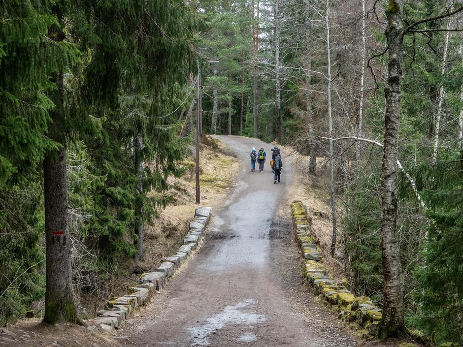 Gamle  Bergensvei er fin å gå tur på, også hvis du triller barnevogn eller du sykler
