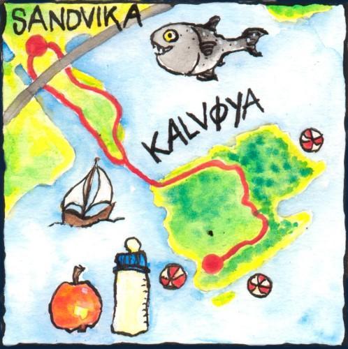 Kart over trilletur til Kalvøya. Laget av Ragnhild Gjerstad