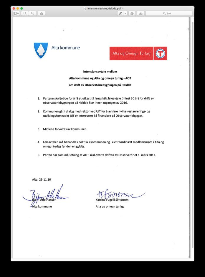 Underskrevet intensjonsavtale