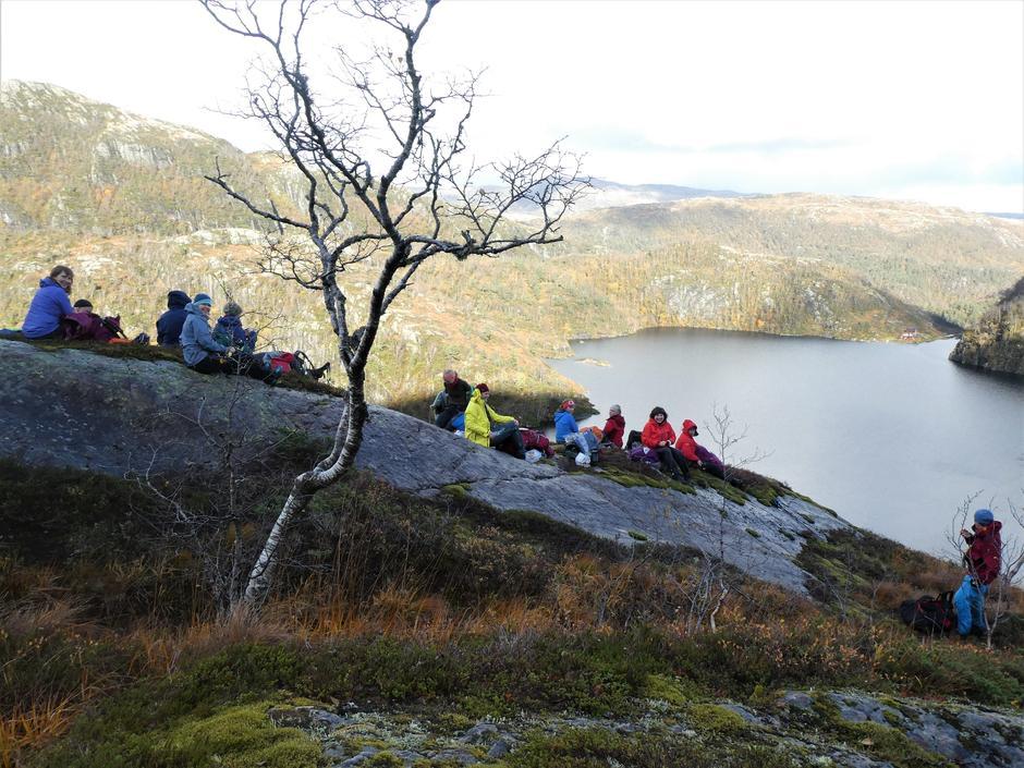 Turfølgjet på ein bergknaus ved Klefjellsvatnet. Norddalssetra i bakgrunnen.