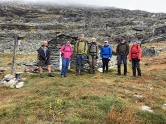 Deltakere fra venstre mot høyre: Tor H. Tyrhaug, Torill Dyrli (turleder), Martin Melland, Maren A. Aabak, Henrik W. Schnell, Nils Seljebø og Sidsel Ødegård.