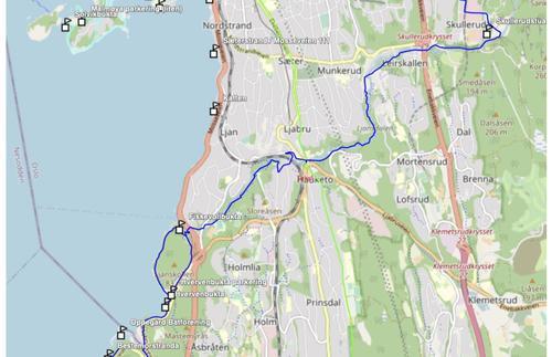 Kart Ljanselva fra Skullerud til Fiskvollen