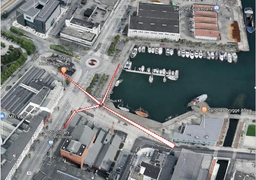 """Luftfoto som viser hvor vi skal plassere """"vindturbinen"""""""