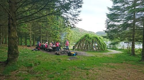 Samlingsplass ved Gramstadstjernet om sommeren