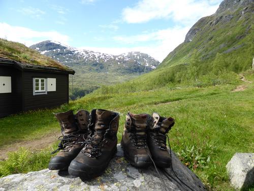 Endelig fremme på fantastiske Skogadalsbøen i Jotunheimen.