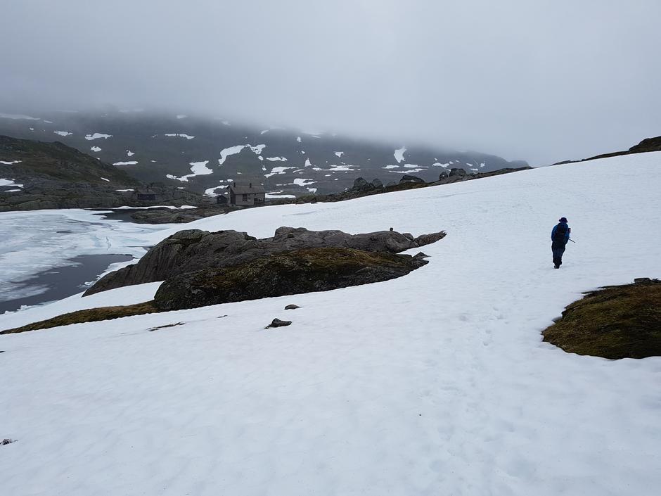 Lørdag 17.6: På vei til Gullhorgabu fra Vending. Fortsatt mye snø.
