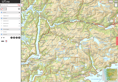 hordaland kart Ruter og kart — Bergen og Hordaland Turlag hordaland kart