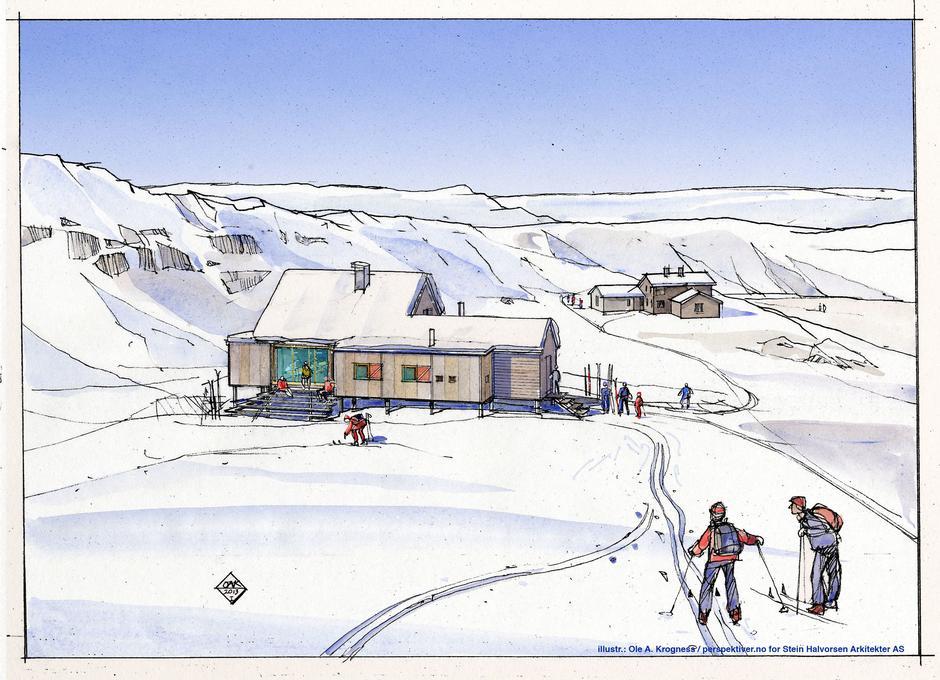 29. mars startet byggingen av den nye selvbetjente hytta på Høgevarde. Høgevarde vil være stengt i perioden 29. mars til 1. juli. Obs, bilde er kun en illustrasjon, det er endringer i arkitektur og plassering