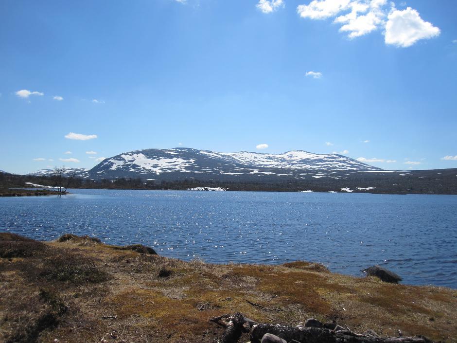 Revlingsjøene, en god times gange fra Svukuriset. Fantastiske fiskevann og fine teltmuligheter. På Svukuriset kan du leie telt om du har lyst til å prøve en villmarksovernatting. Bildet er tatt i pinsen.