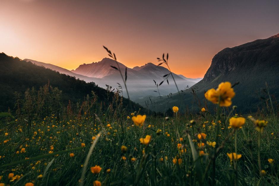 Solnedgang på Velleseter