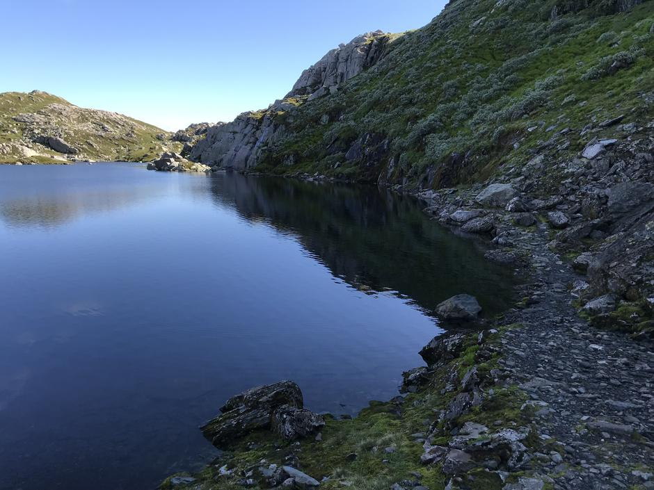 Sti langs østsiden av Storlitjørn. Høy vannstand gjør det spennende..