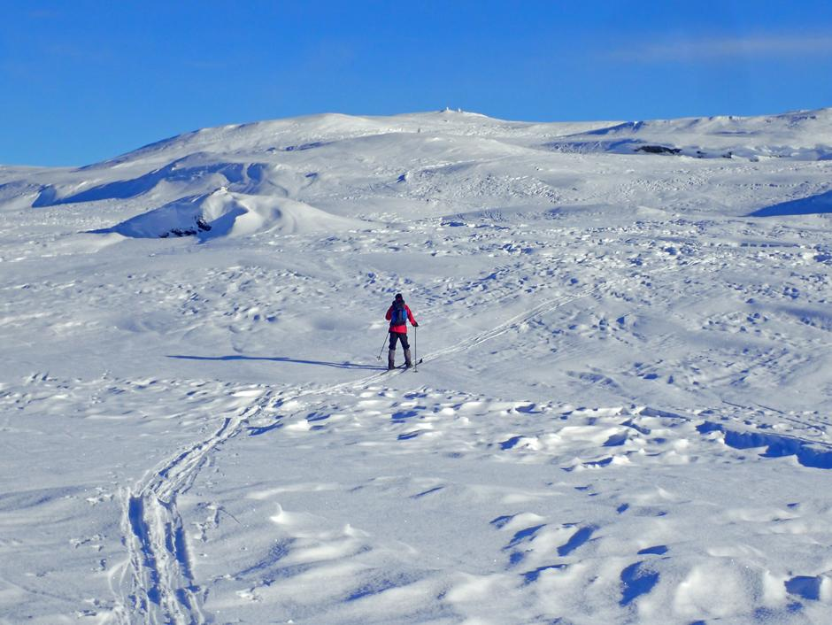 Inn over platået frem til varden på toppunktet 1080 moh.