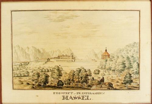 Hadsel kirke med prestegården på ei tegning fra år 1839