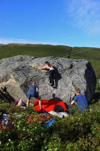 Buldring i Småbakkan på Kvaløya med DNT ung Tromsø