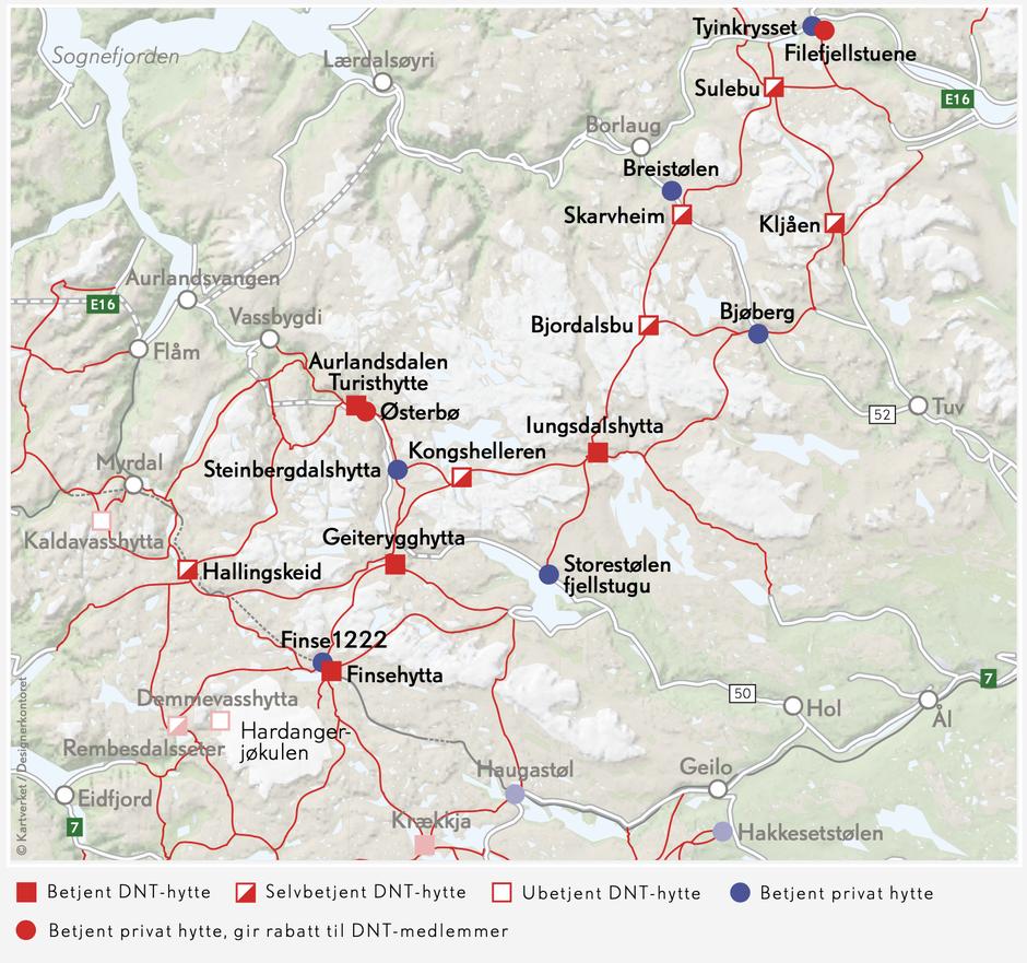 Rutekart over Skarvheimen