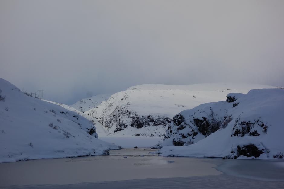 Søndag 13.1: Noen åpne vann på vei fra Kvitingen til Høgabu i Bergsdalen