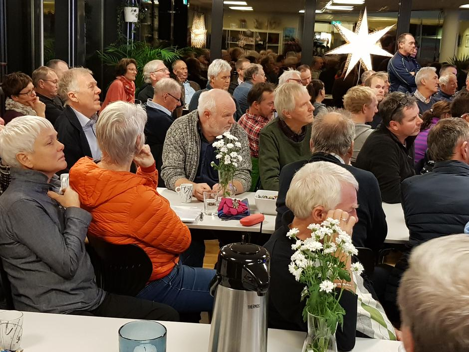 Folkemøte om vindkraft på Knarvik i Nordhordland, 19. november 2018.