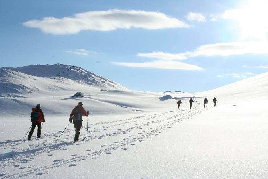 Det er gode forhold på ruta fra Breistølen og opp mot Bjordalsbu. Bildet er tatt den 10. februar.