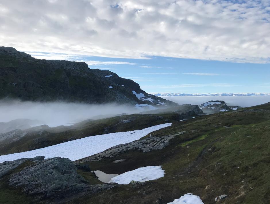 Tirsdag 29.6: Mer tåke. Skrott (1320 moh) til venstre i bildet.