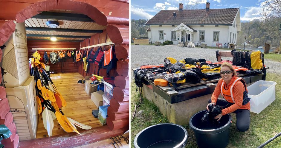På Breivoll Gård leier du kajakk og utstyr, og vasker det etterpå.