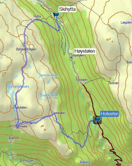 Ruta frå turen til Li og Ormsete laurdag 29.juli.