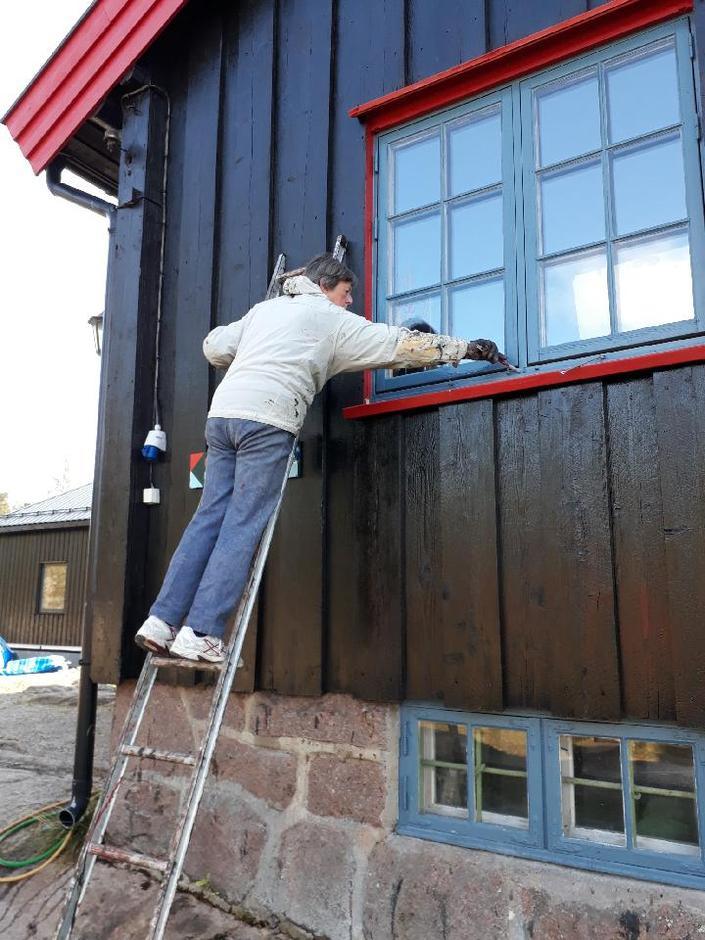 Ellen Bull i Kobberhaughyttas dugnadsgruppe sørger for at hytta er nymalt før vinteren.